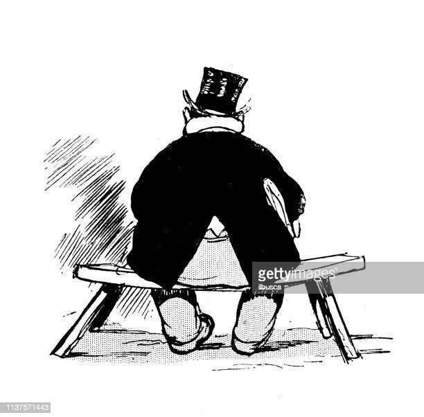antique humor cartoon illustration: fat man back - human back stock illustrations