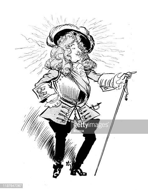 antique humor cartoon illustration - louis xiv of france stock illustrations, clip art, cartoons, & icons