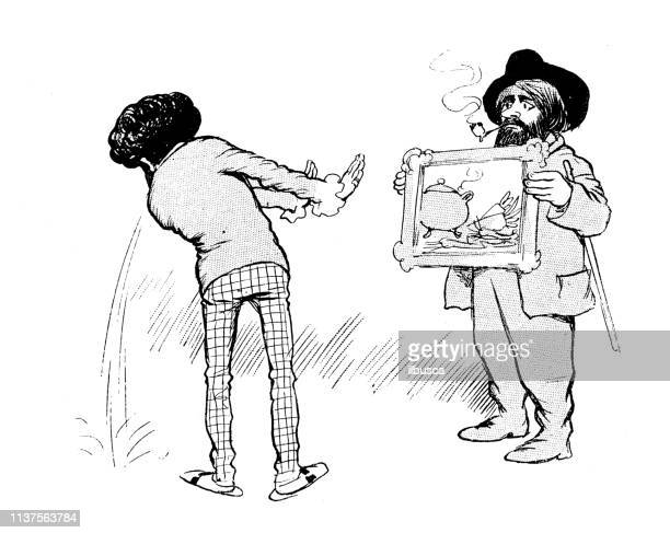 antique humor cartoon illustration: man vomiting looking at painting - infamous stock illustrations, clip art, cartoons, & icons