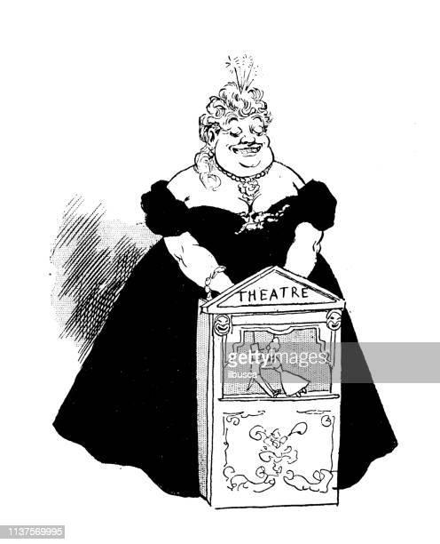 antique humor cartoon illustration: puppet theatre - fat female cartoon characters stock illustrations
