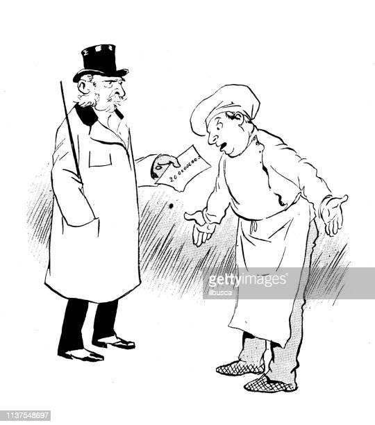 illustrazioni stock, clip art, cartoni animati e icone di tendenza di antique humor cartoon illustration: twenty million check - 20th century style