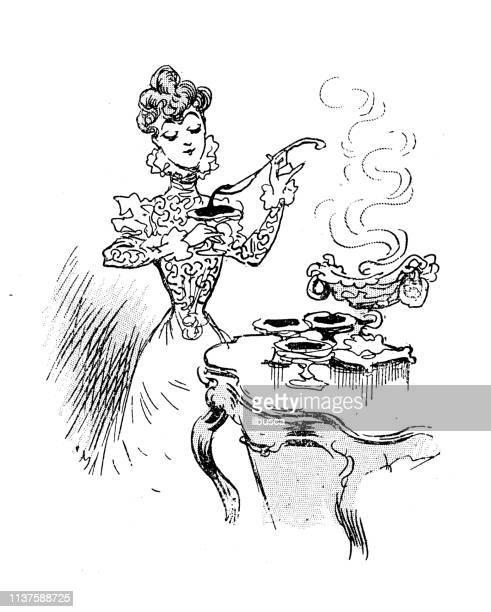 antique humor cartoon illustration: woman filling glasses - marmalade stock illustrations, clip art, cartoons, & icons