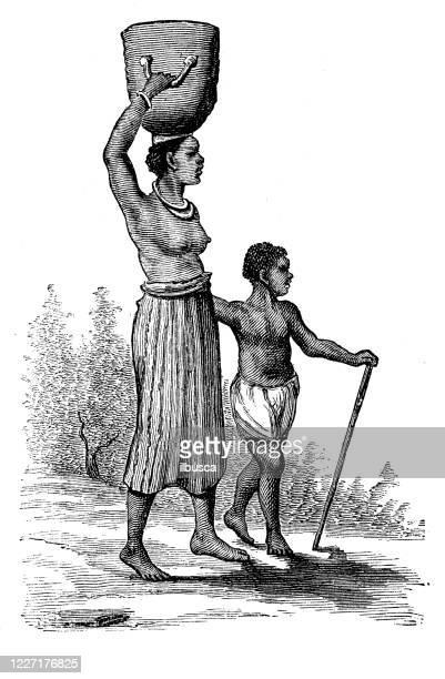 illustrazioni stock, clip art, cartoni animati e icone di tendenza di antique illustration: african native - ilbusca