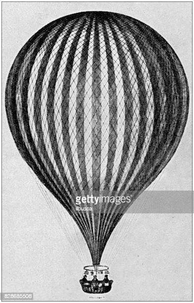 antique illustration: air baloon - hot air balloon stock illustrations, clip art, cartoons, & icons