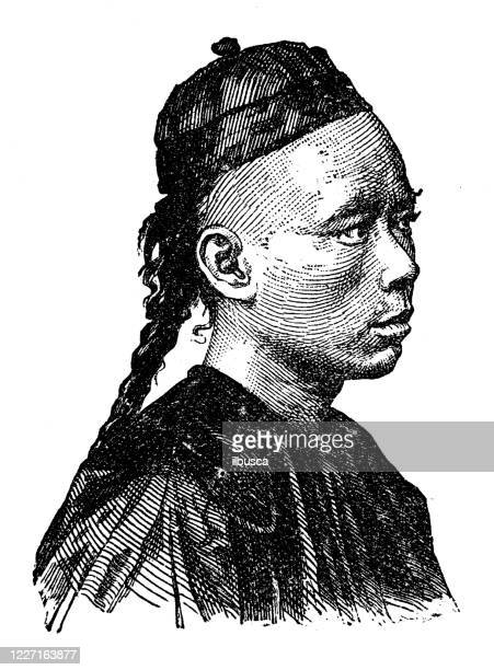 antique illustration: asian and european native, chinese man - chinese ethnicity stock illustrations