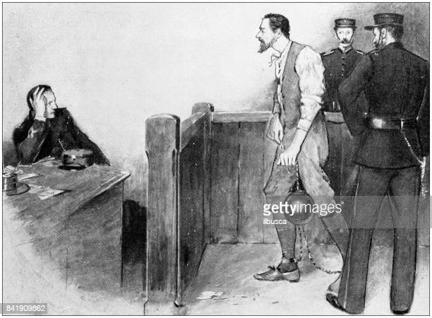 antique illustration: at the police station - arrest stock illustrations, clip art, cartoons, & icons