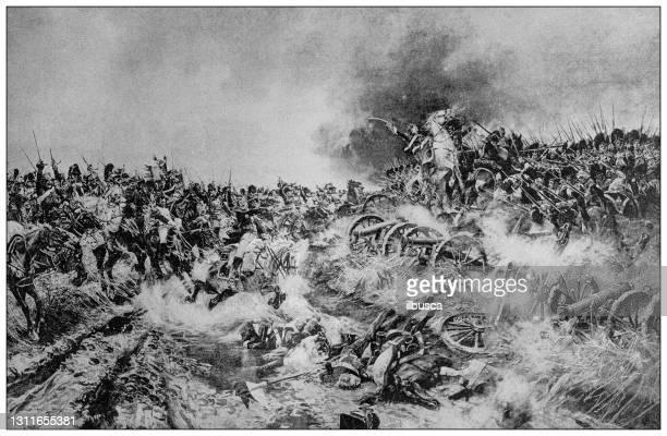 illustrations, cliparts, dessins animés et icônes de illustration antique : bataille de waterloo - guerres napoléoniennes