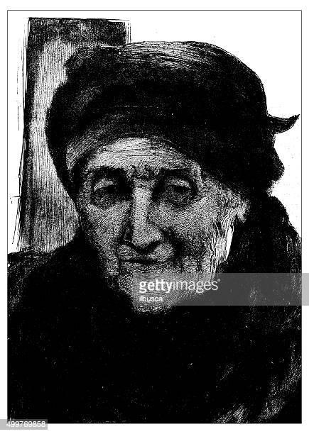 Antique illustration (fac-simile) by Hubert Herkomer: souvenir de Rembrandt