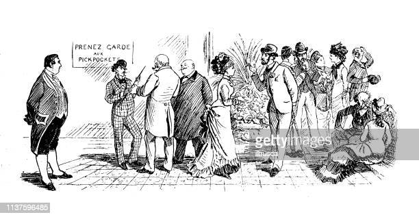 antique illustration by randolph caldecott: at the casino - monte carlo stock illustrations, clip art, cartoons, & icons