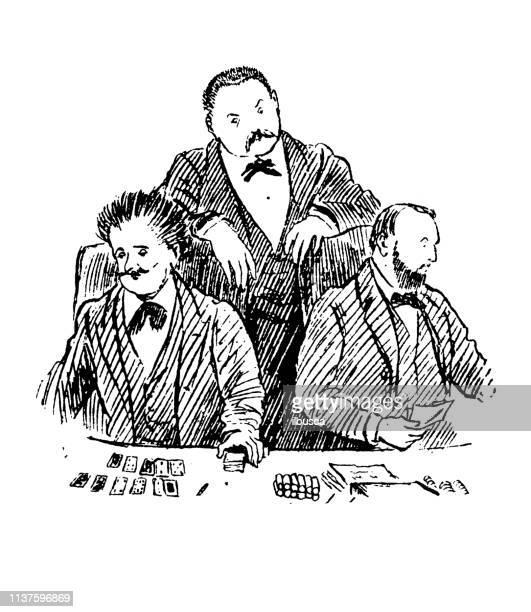 antique illustration by randolph caldecott: at the casino - monte carlo casino stock illustrations, clip art, cartoons, & icons