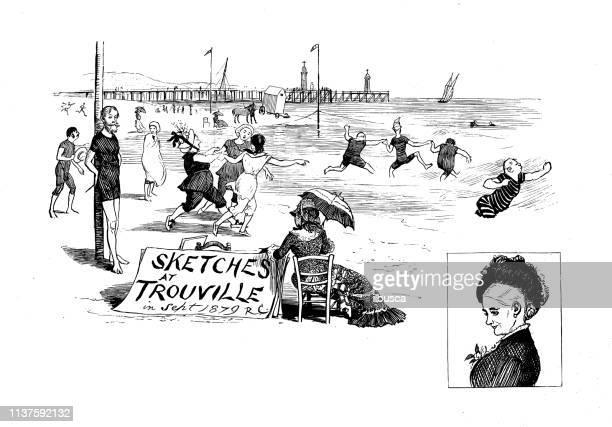 ilustrações, clipart, desenhos animados e ícones de ilustração antiga por randolph caldecott: banhando-se - normandy