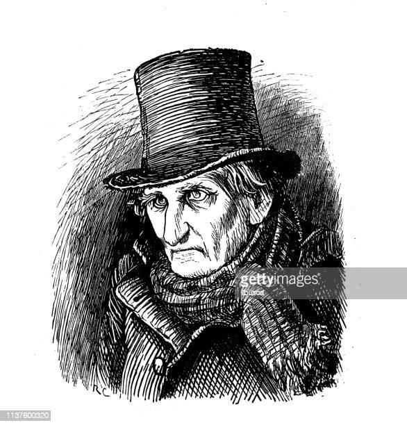 antique illustration by randolph caldecott - top hat stock illustrations