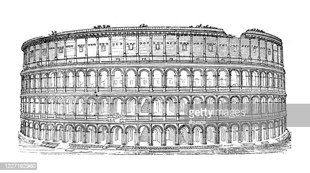 illustrazioni stock, clip art, cartoni animati e icone di tendenza di antique illustration: coliseum, rome - ilbusca