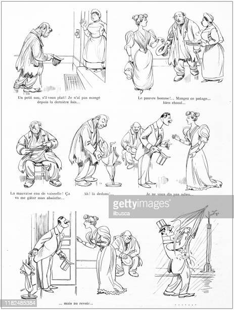 antique illustration: comic cartoon - cartoon hobo stock illustrations