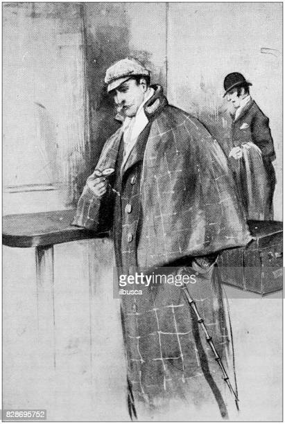 antique illustration: detective - sherlock holmes stock illustrations