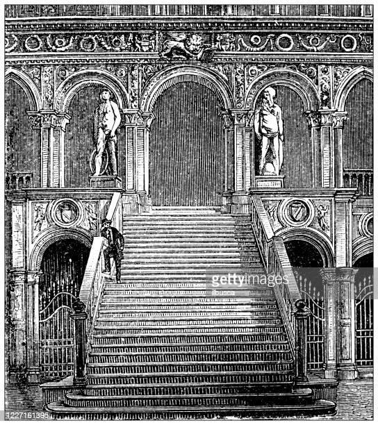 illustrazioni stock, clip art, cartoni animati e icone di tendenza di antique illustration: doge's palace, venice - ilbusca