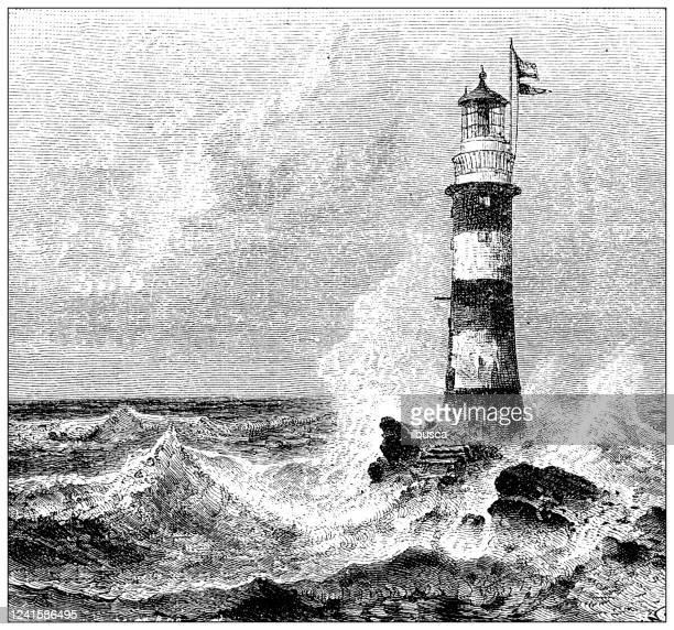 antique illustration: eddystone lighthouse - lighthouse stock illustrations