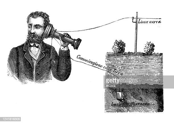 antike illustration: elektrische maschine telefon - erfindung stock-grafiken, -clipart, -cartoons und -symbole