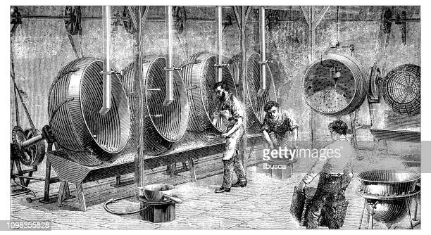 antique illustration engraving of manufacturing industry: chocolate dragees production - chocolate factory stock illustrations