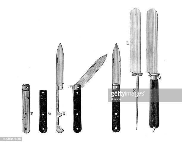antique illustration engraving of manufacturing industry: cutlery production - utility knife stock illustrations