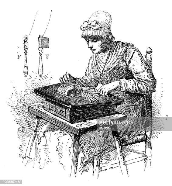 antique illustration engraving of manufacturing industry: lacemaking - lacemaking stock illustrations