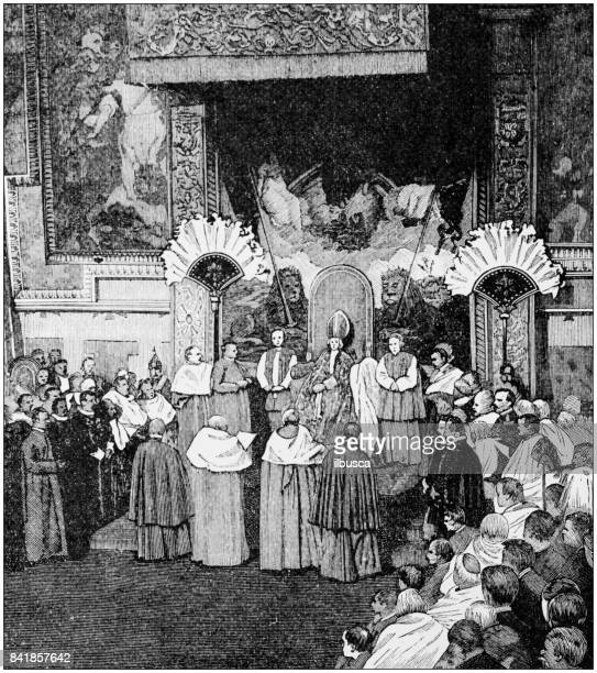 Antique illustration: Enthronement of the Pope in the Sistine Chapel