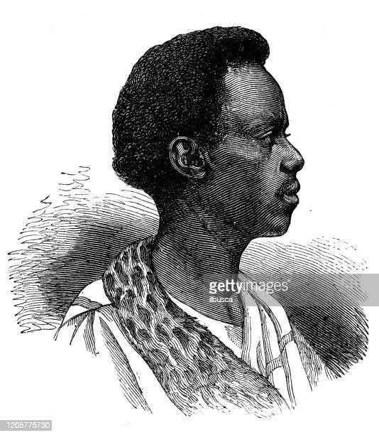 ilustrações, clipart, desenhos animados e ícones de ilustração antiga: homem etíope - ethiopia