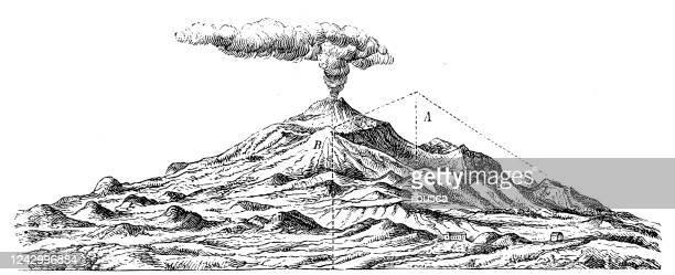 antique illustration: etna volcano - volcano stock illustrations
