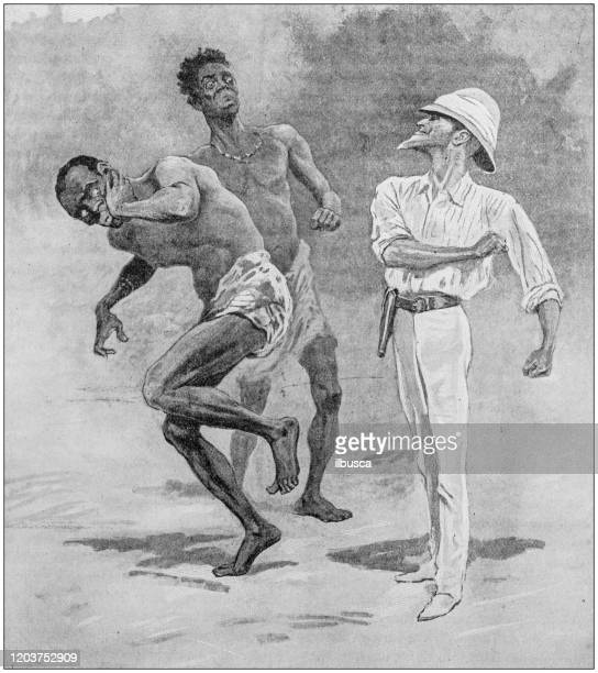 illustrations, cliparts, dessins animés et icônes de illustration antique : explorateur frappant l'homme indigène - image du xixème siècle
