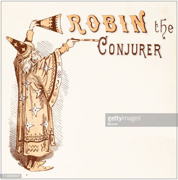 antique illustration from fables picture book: robin the conjurer - illusion stock illustrations