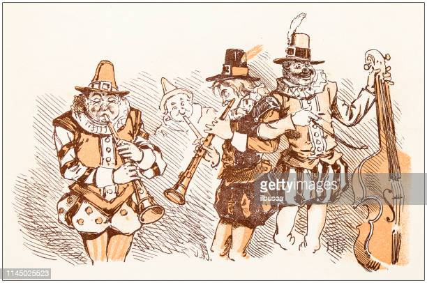 antique illustration from fables picture book: sir francis drake and his goblins - bass instrument stock illustrations, clip art, cartoons, & icons