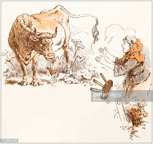 antique illustration from fables picture book: tom thumb - milking stock illustrations, clip art, cartoons, & icons