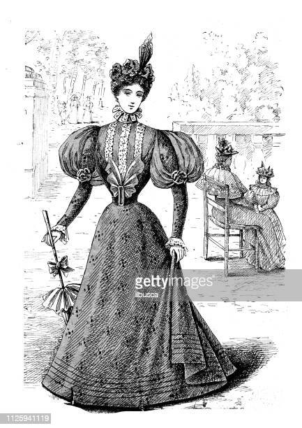 antique illustration from french fashion magazine - corset stock illustrations