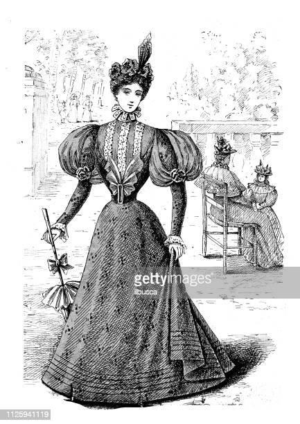 antike darstellung von französischen mode-magazin - korsett stock-grafiken, -clipart, -cartoons und -symbole