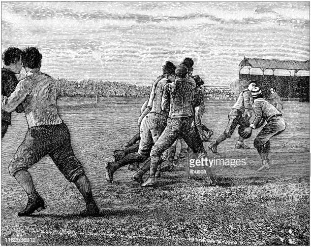 Antique illustration from sport book: American football action