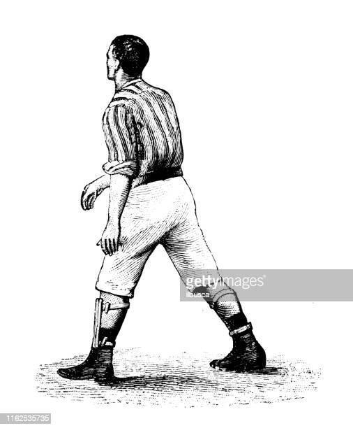 Antique illustration from sport book: Football soccer player
