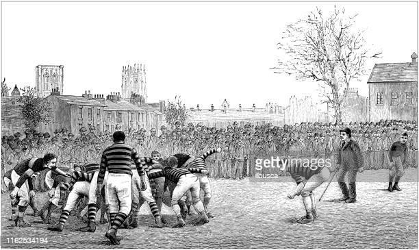 stockillustraties, clipart, cartoons en iconen met antieke illustratie uit sport boek: voetbal/rugby actie - rugby union