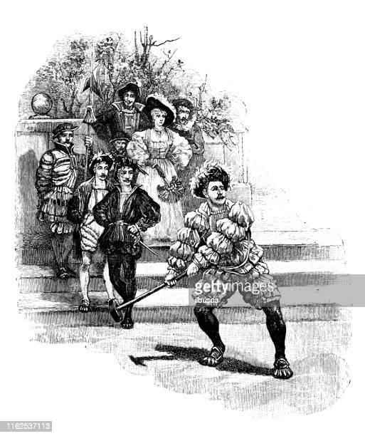 illustrations, cliparts, dessins animés et icônes de illustration antique du livre de sport : hammer throw - lance