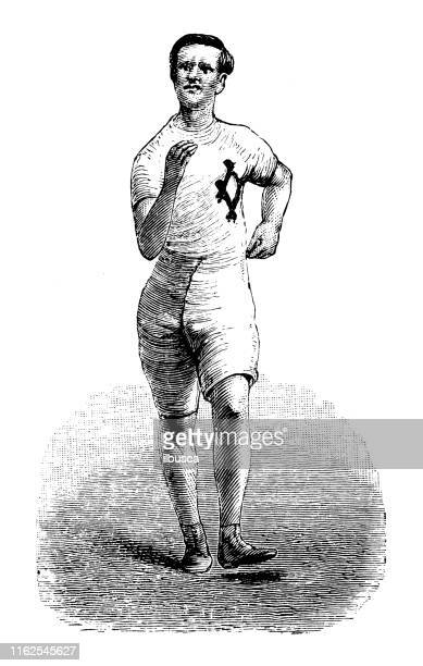 antique illustration from sport book: racewalking - racewalking stock illustrations, clip art, cartoons, & icons