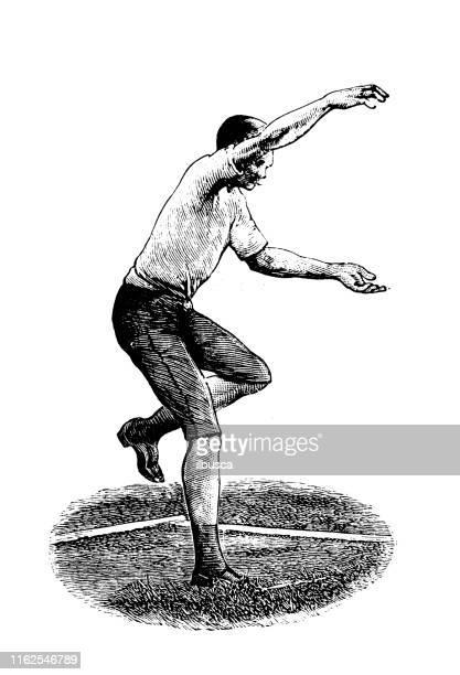 illustrazioni stock, clip art, cartoni animati e icone di tendenza di illustrazione antica dal libro sportivo: shot put - obsoleto