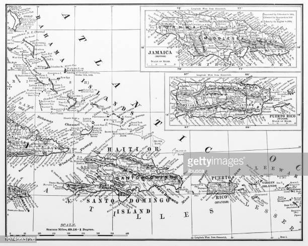 antique illustration from us navy and army: haiti, jamaica and puerto rico map - 1900 1909 stock illustrations