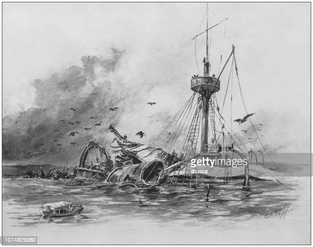 antique illustration from us navy and army: wreck of the maine battleship - ship wreck stock illustrations