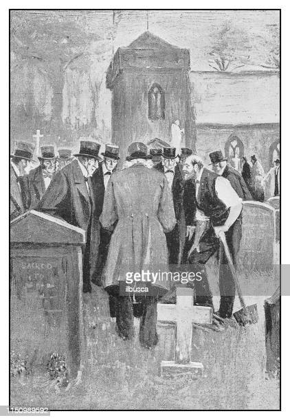 antique illustration: funeral cemetery - coffin stock illustrations