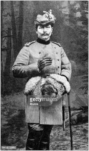 antique illustration: german emperor hunting - sport involving animals stock illustrations