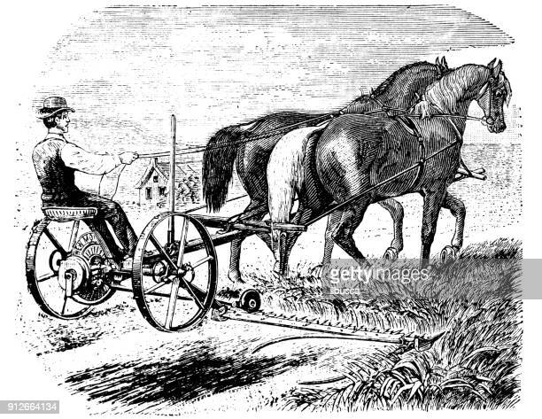 antique illustration: harvester machine - 1900 stock illustrations