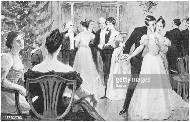 antique illustration: high society christmas party - christmas past and christmas present stock illustrations