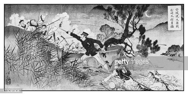 illustrations, cliparts, dessins animés et icônes de illustration antique: japon chine bataille - guerre