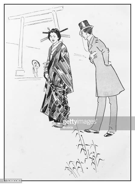 antique illustration: japanese couple - only japanese stock illustrations, clip art, cartoons, & icons