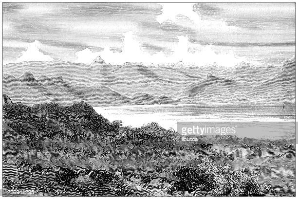 antique illustration: lake hashenge, ethiopia - horn of africa stock illustrations