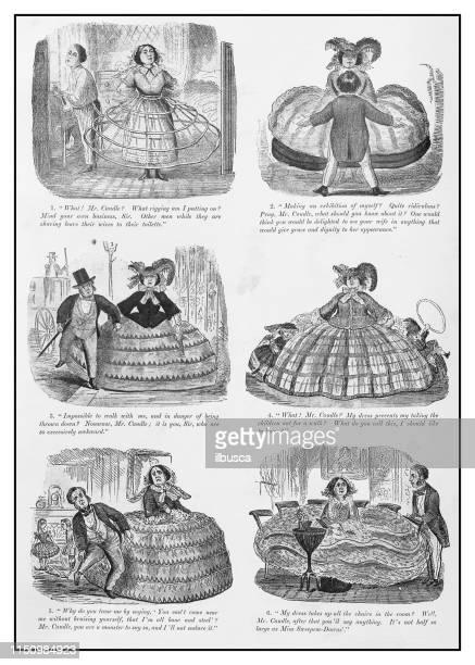 Antique illustration: Large skirt comic